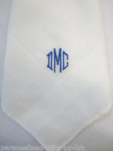 Gents Monogramed Personalised Handkerchief